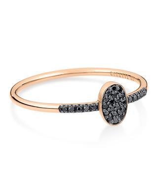 Bague en or rose Sequin Black Diamond Ring GINETTE NY