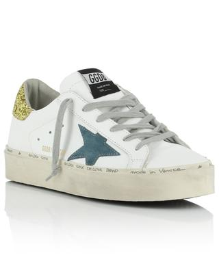 Weisse Ledersneakers mit blauem Stern und Glitter Hi Star GOLDEN GOOSE