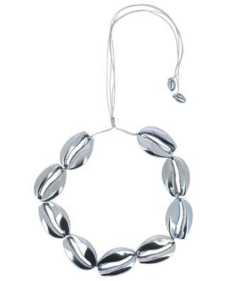 Mega Puka Shells blue brass necklace TOHUM