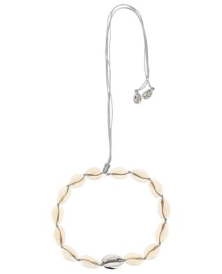 Large Puka Shell cauri and grey gold plated brass necklace TOHUM