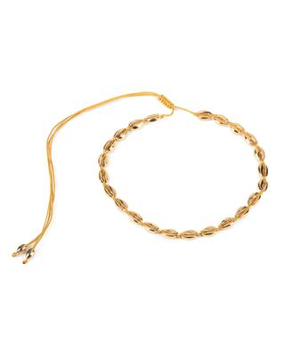 Collier sur corde or jaune Small Puka Shell TOHUM