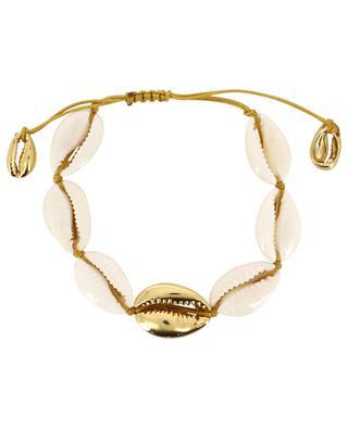 Bracelet de cauris et laiton plaqué or jaune Large Puka TOHUM