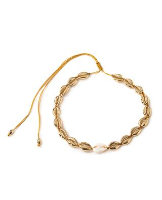 Medium Puka pink golden necklace with natural cowrie TOHUM