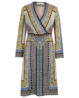 Patchwork patterned short jacquard wrap dress ETRO