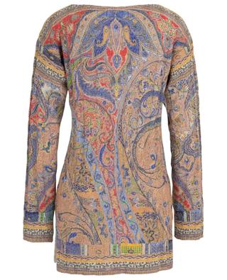 Lightweight cable knit jumper with glittering paisley patterns ETRO