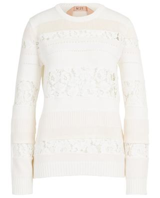 Knit crew neck jumper with lace inserts N°21