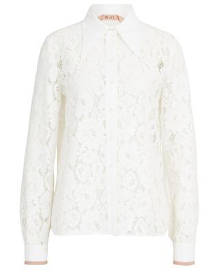 Transparent cotton blend lace blouse N°21