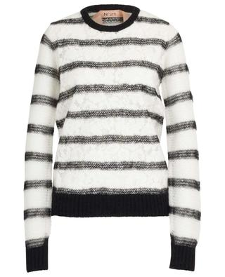 Mohair blend crew neck jumper with lace N°21