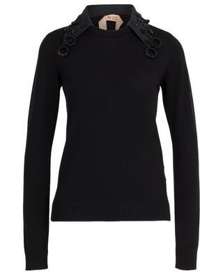 Virgin wool jumper with removeable collar N°21