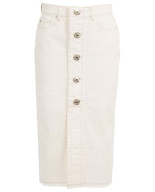 Vanilla denim A-line midi skirt 7 FOR ALL MANKIND