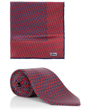Chain pattern tie and pocket square set BRIONI