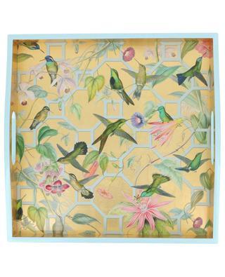 Viereckiges Tablett mit Vögel-Print und Goldrand CASPARI