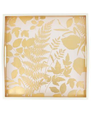 Viereckiges Tablett mit Blätter-Motiven und Goldrand CASPARI