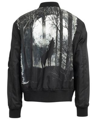 Bomberjacke aus Nylon mit Print im Rücken Night Wolf VALENTINO