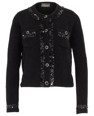 Short chenille knit blazer embroidered with sequins PRINCESS