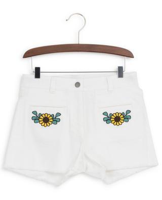 Flower embroidered denim shorts STELLA MCCARTNEY KIDS
