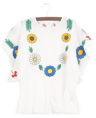 Flowers embroidered sustainable cotton blouse STELLA MCCARTNEY KIDS