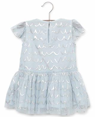 Tüll- und Baumwollkleid mit Wellenprint Shell Foil STELLA MCCARTNEY KIDS