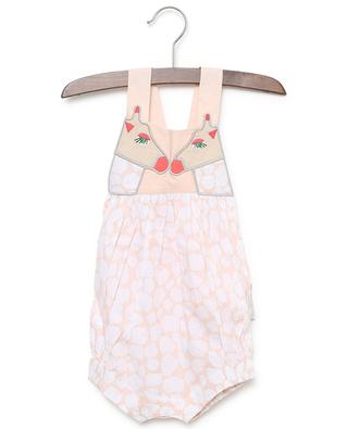 Giraffe embroidered printed cotton rompers STELLA MCCARTNEY KIDS