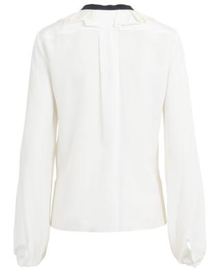 Ruffled silk crepe blouse with neck tie CHLOE