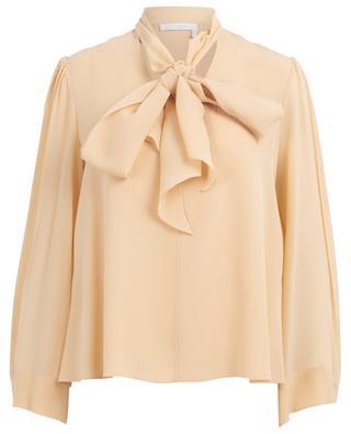 Bluse mit Schluppe aus durchscheinendem Seidencrêpe CHLOE