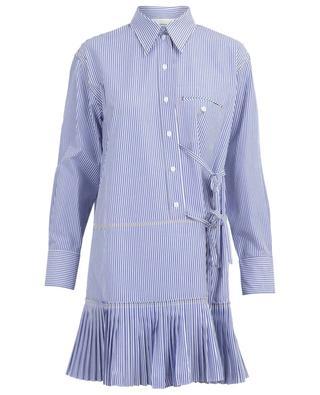 Gestreiftes Mini-Hemdkleid mit Falten und Bändern CHLOE