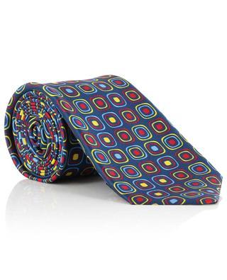 Cravate côtelée imprimée carrés KITON