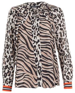 Leopard and zebra print silk blend blouse MARC CAIN