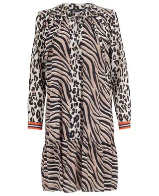 Leopard and zebra print silk blend straight dress MARC CAIN