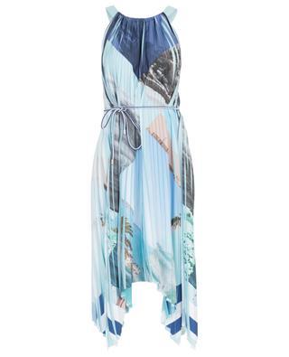 Sleeveless asymmetrical printed pleated dress MARC CAIN