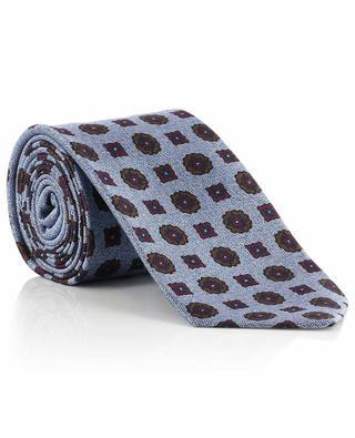 Krawatte mit Chevronmuster und Blüten KITON