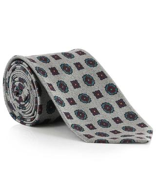 Chevron pattern and flower print tie KITON