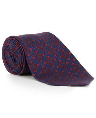 Textured silk tie with flower print KITON