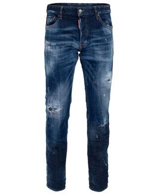 Ausgewaschene Slim-Fit-Jeans mit Rissen und Flecken DSQUARED2