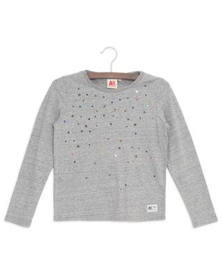 Langarm-T-Shirt mit Paillettenstickereien Stars AO76