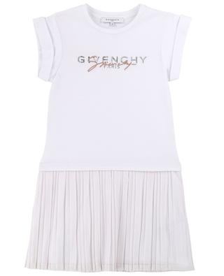 Logo printed bimaterial dress in jersey and mesh GIVENCHY