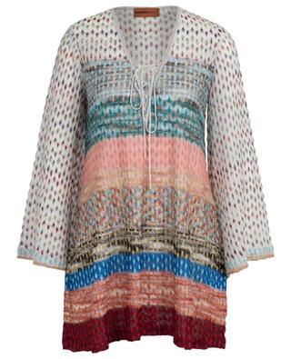 Stripe and diamond embellished openwork knit beach tunic MISSONI MARE