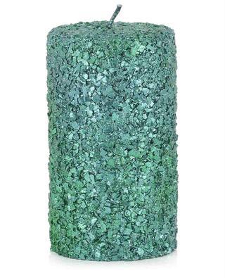 Grüne glitterbedeckte Stumpenkerze Glitter Medium KLEVERING