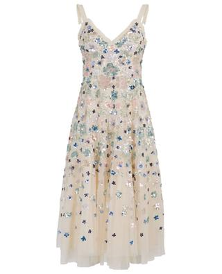 Wildflower Sequin embroidered tulle midi dress NEEDLE &THREAD