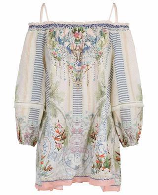Beach Shack off-shoulder linen short dress AGENT CAMILLA