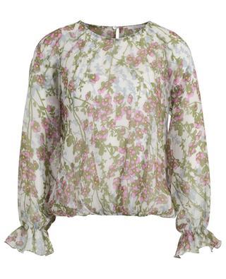 Paraggi cherry blossom print long-sleeved silk blouse IBLUES