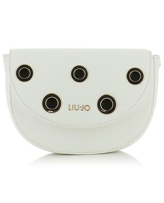 Eyelet adorned textured leather shoulder bag LIU JO