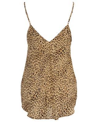 Rosette leopard print sleeveless top MES DEMOISELLES