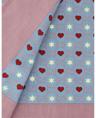 Schal aus Seidenmix mit Herzen, Sternen und GG-Logo GUCCI