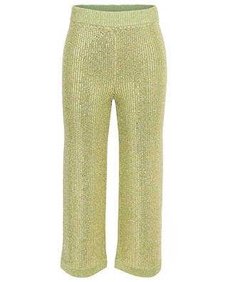 Pantalon large raccourci en maille embelli de cristaux GUCCI