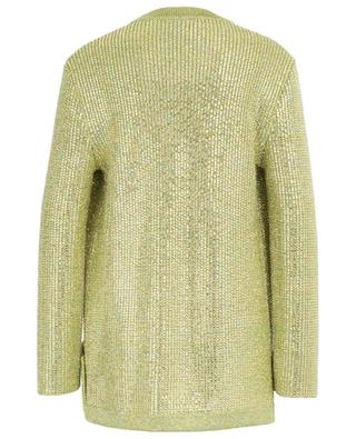 Crystal embellished open viscose lamé cardigan GUCCI