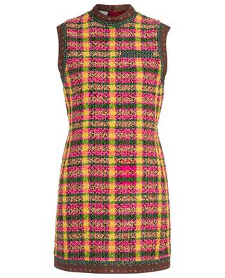 Sleeveless A-line mini dress in tweed with patchwork GUCCI