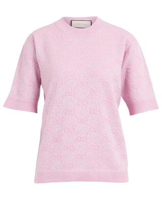 Pull à manches courtes scintillant GG Relief GUCCI