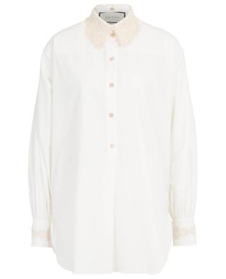 Oversize-Popelinehemd mit abnehmbarem Makramee-Kragen GUCCI