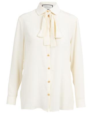 Hemd aus Seidencrêpe mit Schluppe und GG-Knöpfen GUCCI